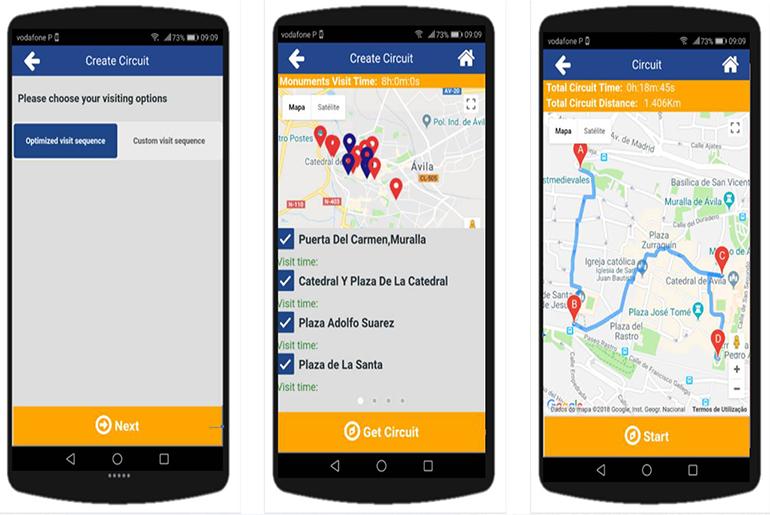 Imagen 3. Optimización mediante el app SHCity-Turista de las visitas turísticas. Se indica en tiempo real la mejor ruta para evitar colas.